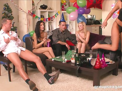 Horny cowgirls fake a party into a full swing orgy