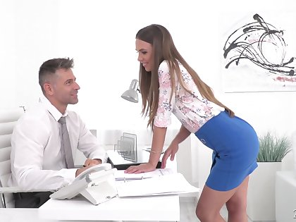 Red haired secretary Karina Telling gives a deepthroat blowjob and gets say no to anus rammed