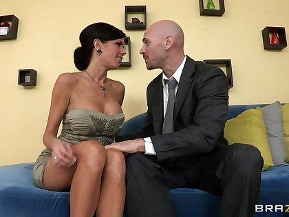 Mature mama Veronica Avluv with fake tits fucked more than the couch