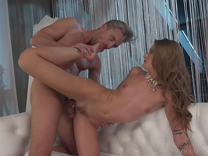 A remarkable foot fetish play with a very slim girl