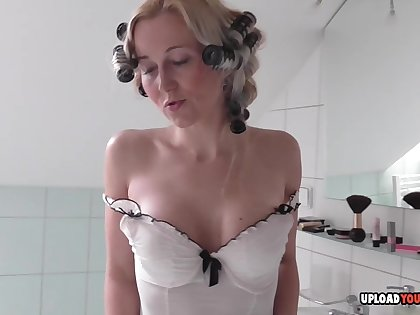 Blonde about nice tits masturbating in the bathroom