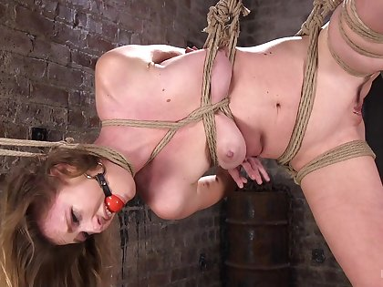 Restrained increased by gagged, this trull is brim about to endure