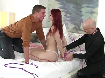 Sexy irritant redhead tied everywhere and fucked in a sensual cuckold