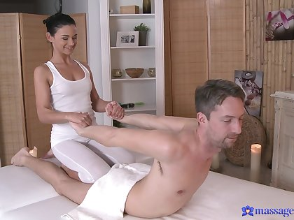 Harmless fucking exposed to the massage table with oiled cutie Keira