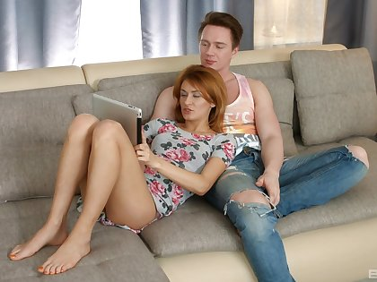 Cute redhead Russian Esperanse gets licked increased by dicked on the sofa