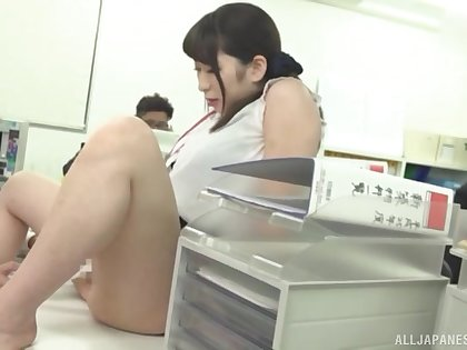 Busty Japanese chick Takarada Monami drops on her knees to blow