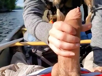 Playing wide his prominent cock in the matter of the lake